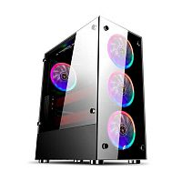 1STPLAYER V6-4R1 Корпус FIRE DANCING V6 / ATX, tempered glass side panels / 4x 120mm LED fans inc. / V6-4R1