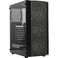 Powercase CMRMX-L3 Корпус Rhombus X3 Mesh LED, Tempered Glass, 3x 120mm 5-color fan, чёрный, ATX  (CMRMX-L3)