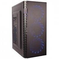 Exegate EX278418RUS Корпус Miditower Exegate EVO-7216 Black-Blue light, ATX, <500NPX>, 1*USB+1*USB3.0, Audio