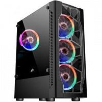 1STPLAYER D4-BK-4G6 Корпус DK D4 BLACK / ATX, tempered glass, metal mesh / 4x 120mm LED fans inc. / D4-BK-4G6