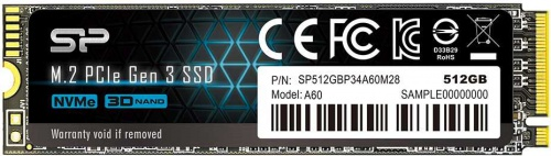 Silicon Power SSD 512Gb A60 SP512GBP34A60M28, M.2 2280, PCI-E x4, NVMe со склада в Москве