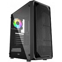 Powercase CMIZB-L1 Корпус Mistral Z1 Mesh LED, Tempered Glass, 1x 120mm 5-color fan, чёрный, ATX  (CMIZB-L1)